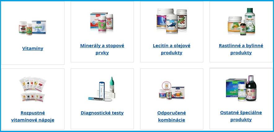 Vitamíny finclub, Minerály a stopové prvky,  Lecitín a olejové produkty,  Rastlinné a bylinné produkty,  Ostatné špeciálne výživové produkty, Rozpustné vitamínové nápoje,